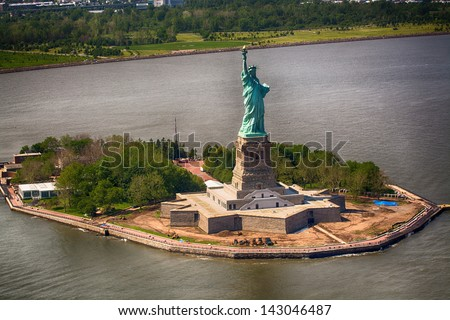 Beautiful aerial view of Statue of Liberty - New York City. - stock photo