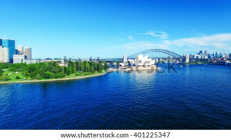 Beautiful aerial view of Sydney skyline. - stock photo