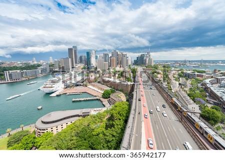Beautiful aerial view of Sydney skyscrapers, Australia. - stock photo