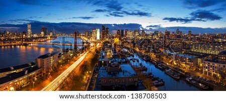 Beautiful aerial view of the skyline of Rotterdam, the Netherlands, at twilight - stock photo