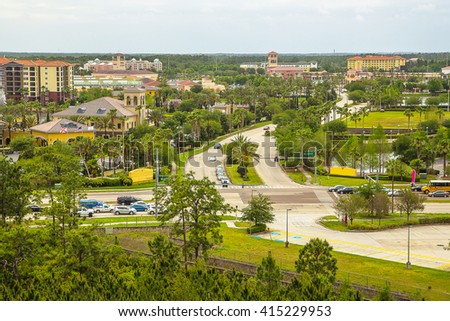 Beautiful aerial view on Orlando city, Florida. Green city. - stock photo