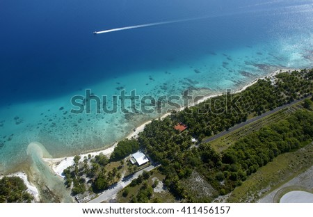beautiful aerial view Rangiroa atoll in south pacific ocean - stock photo