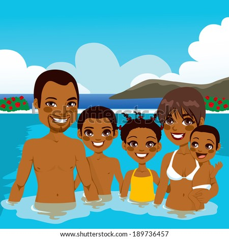 Beautiful African American family enjoying vacation time on swimming pool - stock photo