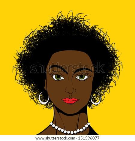 Beautiful african american girl avatar in Pop Art/Comic style drawing - stock photo