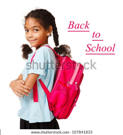 Beautiful african american girl ready back to school - stock photo