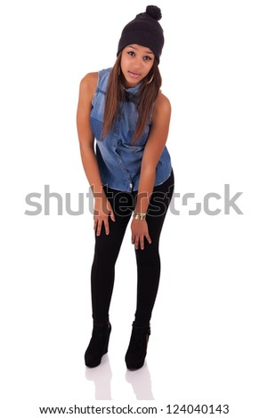 Beautiful African American  isolated - stock photo