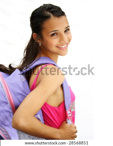 Beautiful african american student teenager carrying her bag and smiling- isolated over a white background. - stock photo