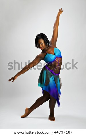 Beautiful African American Teen dancer - stock photo