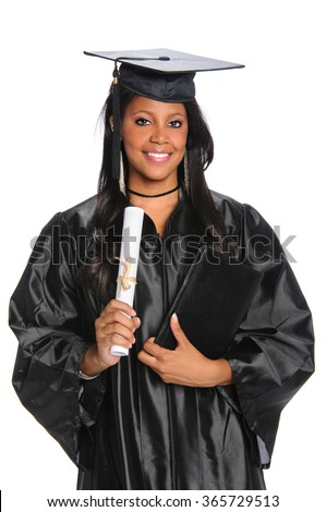 Beautiful African American woman holding diploma isolated over white background - stock photo
