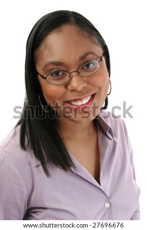 Beautiful African American woman in glasses. Headshot. Serious expression. - stock photo
