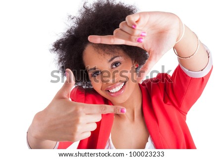 Beautiful african american woman making frame with her hands, isolated on white background - stock photo
