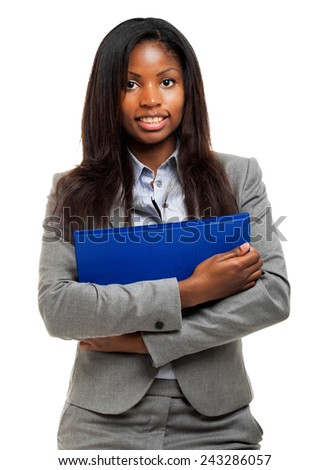 Beautiful african businesswoman portrait isolated on white  - stock photo
