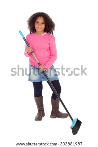 Beautiful african child helping with household chores isolated on a white background - stock photo