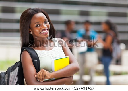 beautiful african college student - stock photo