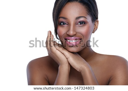Beautiful African woman, concept healthy and pure skin - stock photo