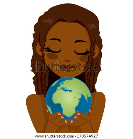 Beautiful African woman holding earth globe showing Africa, Middle East and European continents with her hands - stock photo