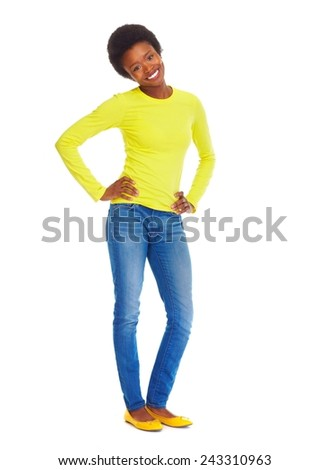 Beautiful african woman isolated over white background - stock photo