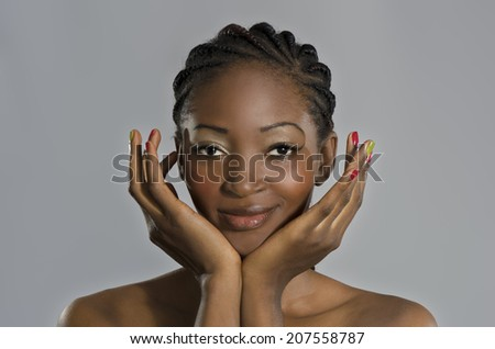 Beautiful African Woman Portrait, Studio Shot, Cameroon - stock photo