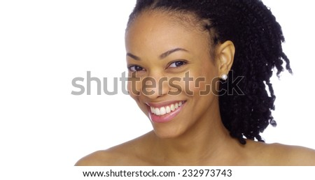 Beautiful African woman smiling - stock photo