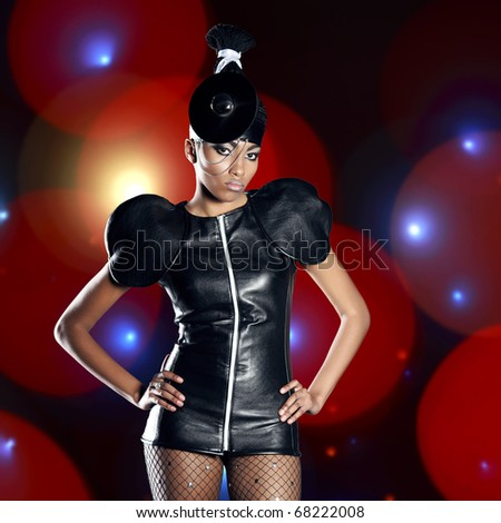 Beautiful african woman  whith fashion make-up - stock photo