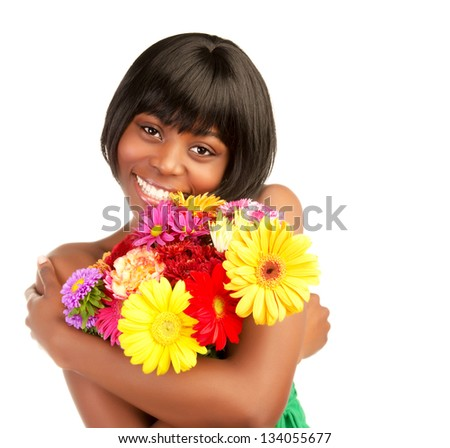Beautiful african woman with fresh colorful flowers isolated on white background, romantic holiday, love concept - stock photo