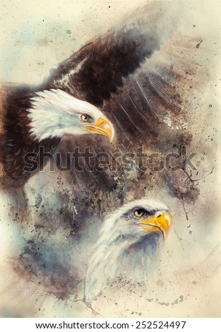 beautiful airbrush painting of two eagles on an abstract background, one stretching his black wings to fly, on abstract background - stock photo