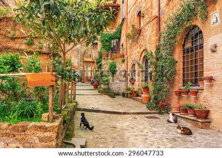 Beautiful alley in old town Tuscany - stock photo