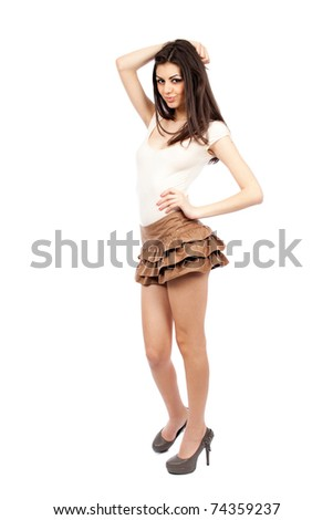 Beautiful alluring sexy young hispanic woman, full body portrait - stock photo