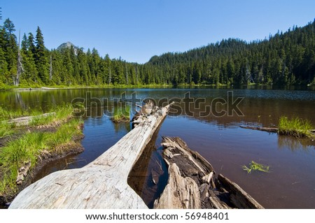 Beautiful alpine lake called Lodge Lake nestled in Snoqualmie Pass in western Washington on a sunny summer day. - stock photo
