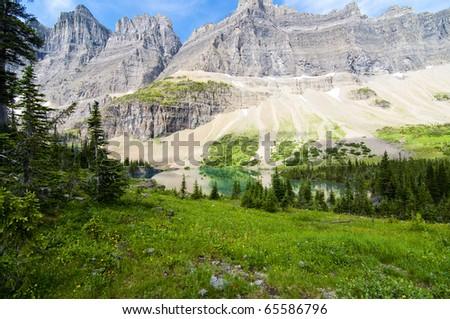 Beautiful alpine lake in Glacier National Park Montana - stock photo