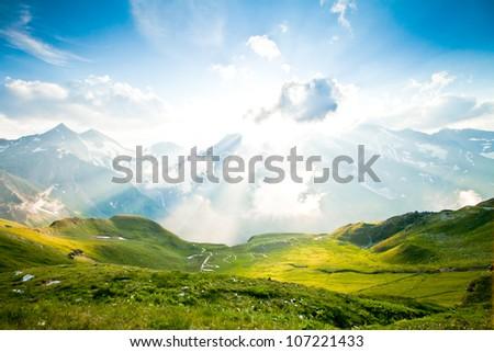 Beautiful alpine landscape - stock photo