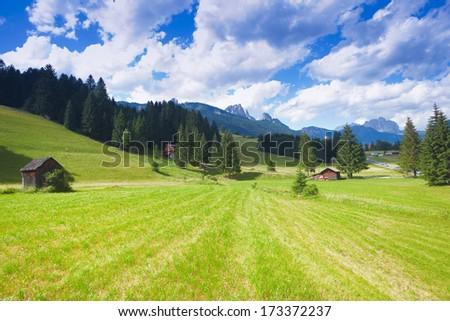 Beautiful alpine plateau in Val di Fiemme of Trentino - stock photo