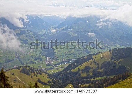 Beautiful Alps views appearing on the way up the Niesen  - stock photo