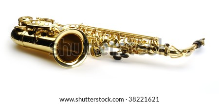 Beautiful alto saxophone on white background - stock photo