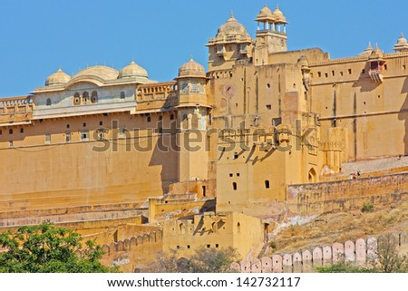 Beautiful Amber Fort near Jaipur city in India. Rajasthan - stock photo