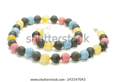 Beautiful amber necklace isolated on the white background - stock photo