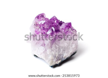 Beautiful amethyst druse close-up on white background - semiprecious gem used for jewels - stock photo