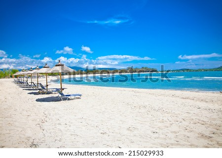 Beautiful Ammoudia sandy beach on Preveza, Greece. - stock photo