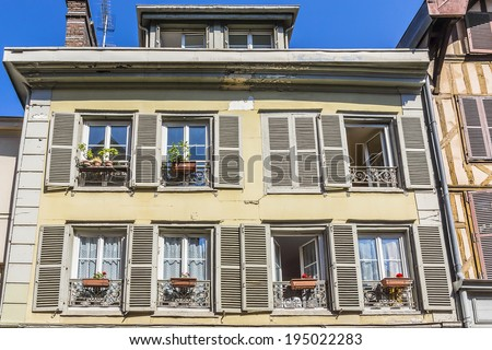 Beautiful ancient half-timbered house (mainly of 16th century) in Troyes. Troyes is a commune and the capital of the Aube department (Champagne region) in north-central France - stock photo