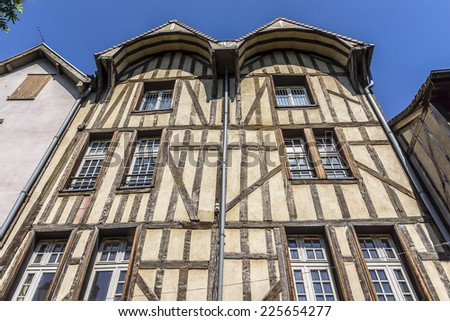 Beautiful ancient half-timbered house (mainly of 16th century) in Troyes. Troyes is a commune and the capital of the Aube department (Champagne region) in north-central France. - stock photo