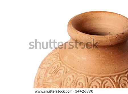 Beautiful ancient vase isolated on white background - stock photo