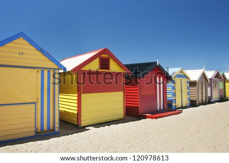 Beautiful and attractive colorful bathing boxes at Brighton beach, Australia - stock photo