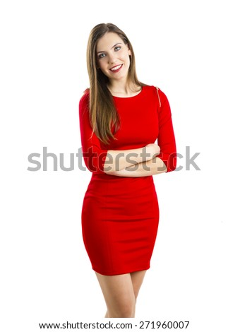 Beautiful and attractive woman with a sexy dress, isolated on white background - stock photo