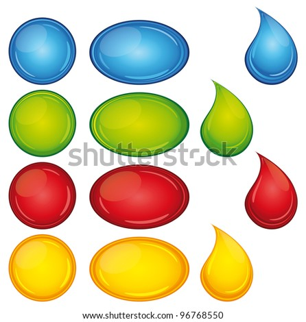 Beautiful and colorful buttons and droplets set. - stock photo