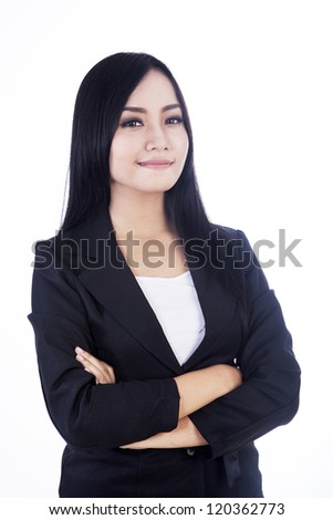 Beautiful and confident businesswoman isolated over white - stock photo