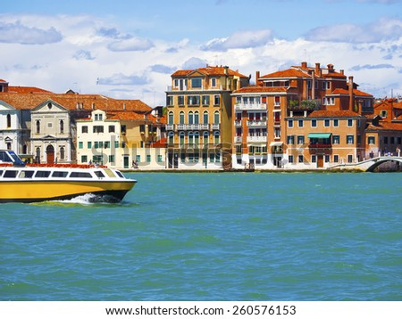 Beautiful and magical Venice, view from the sea, Italy - stock photo