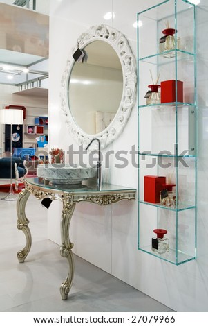 Beautiful and modern furniture in furniture store - stock photo