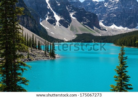 Beautiful and peaceful Moraine lake in Alberta Canada  - stock photo