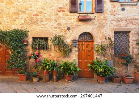 Beautiful and picturesque streets of the Tuscan small town, Pienza - stock photo