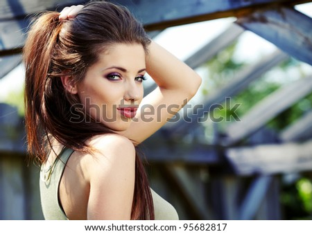 Beautiful and sensuality brunette woman - stock photo